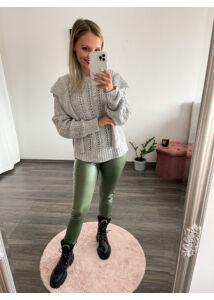 Zöld bőrhatású leggings