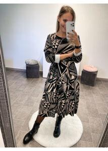 Bézs-fekete mintás midi ruha