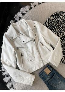Bőrhatású dzseki-fehér