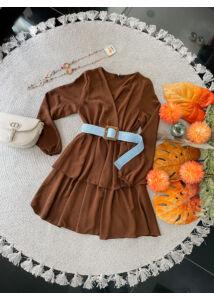 Fodros aljú barna ruha