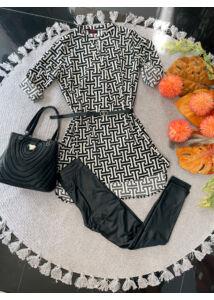 Bézs-fekete mintás tunika