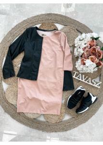 Fekete bőrhatású kabátka