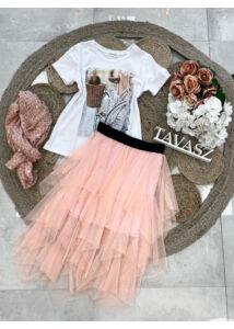 Gumis derekú tüll szoknya-rózsaszín