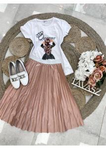 Csillogós pliszi szoknya-világos rózsaszín