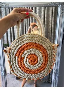 Mini, kerek fonott táska
