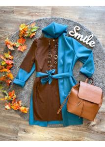 Kapucnis, menta színű kabátka