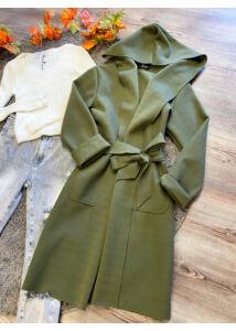 Kapucnis,keki színű kabátka