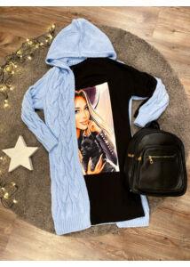 Nina kapucnis kardigán-kék