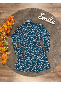Mini virágmintás ruha-petrolkék
