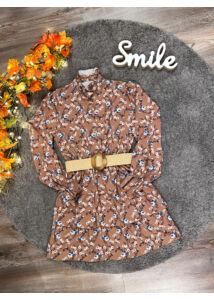 Mini virágmintás ruha-barna