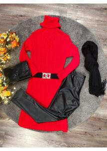 Felsliccelt kötött ruha - piros