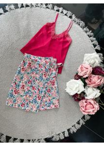 Mini virágos szoknya-pink