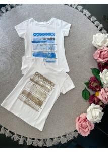 Kék-bézs mintás pólók