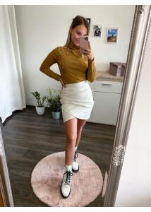 Fehér,bőrhatású szoknya