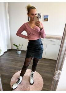 Fekete, bőrhatású szoknya