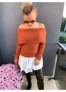 Ing aljú tégla színű kötött pulcsi