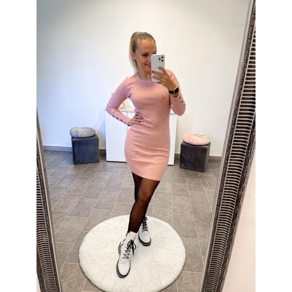 Arany gombos kötött ruha-rózsaszín