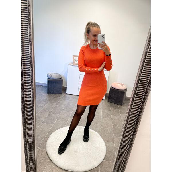 Arany gombos kötött ruha-narancssárga