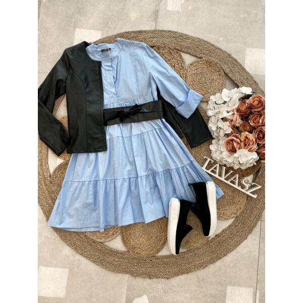 Vászonhatású ruha-kék