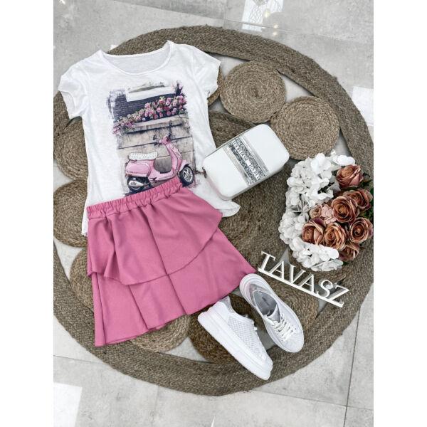 Fodros miniszoknya-rózsaszín