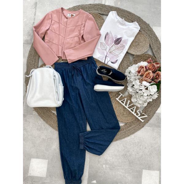 Levél mintás póló-rózsaszín