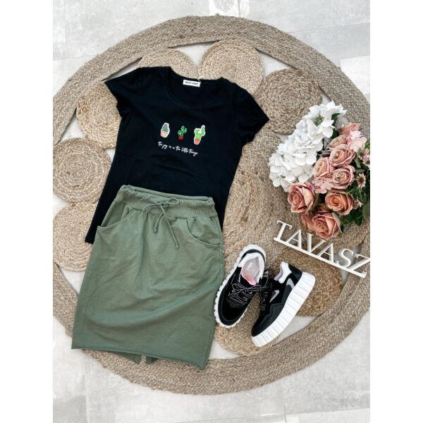Kaktuszos póló-fekete