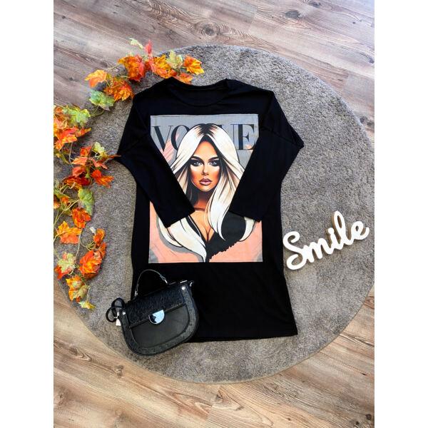Vogue zsebes tunika-fekete
