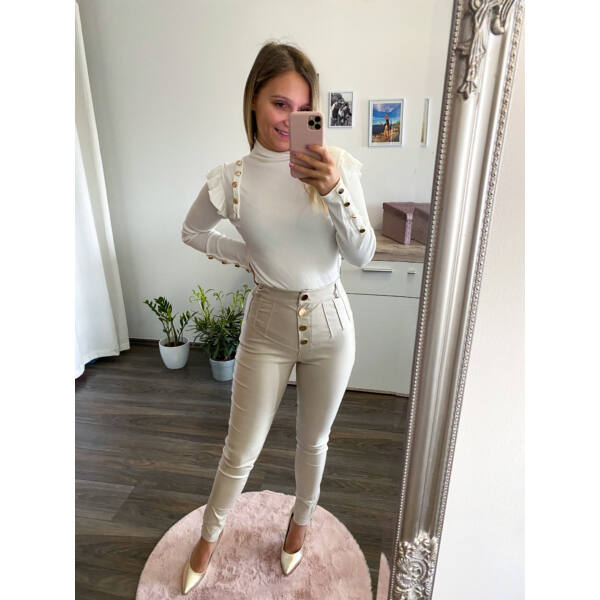 Linda bőrhatású nadrág-bézs