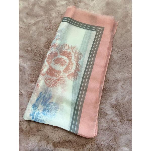 Kék-rózsaszín virágos sál