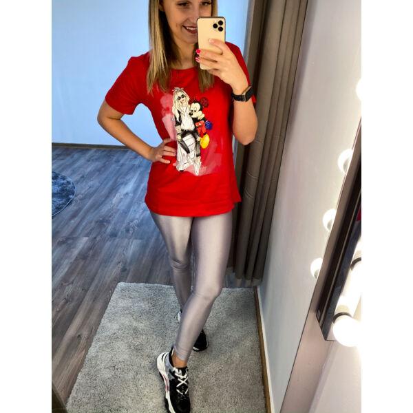 Mickey, piros hosszított póló